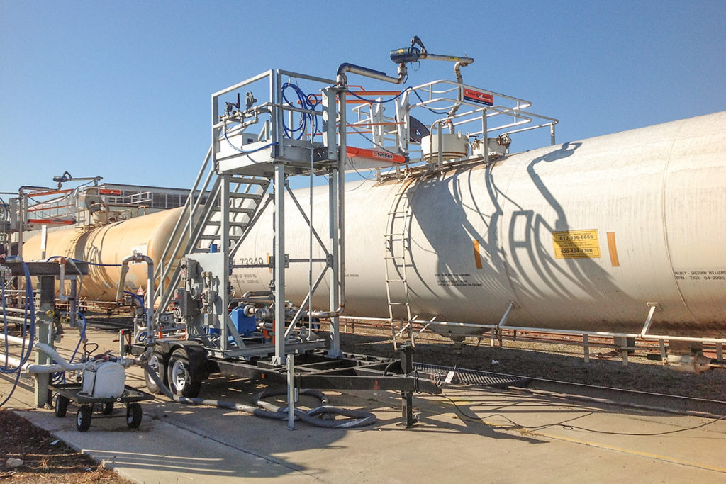 Railcar top loading arm gangway transloader